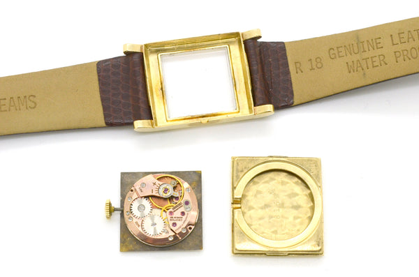 Vintage 14k Yellow Gold Croton Wrist Watch - 17 Jewels - Brown Leather Strap
