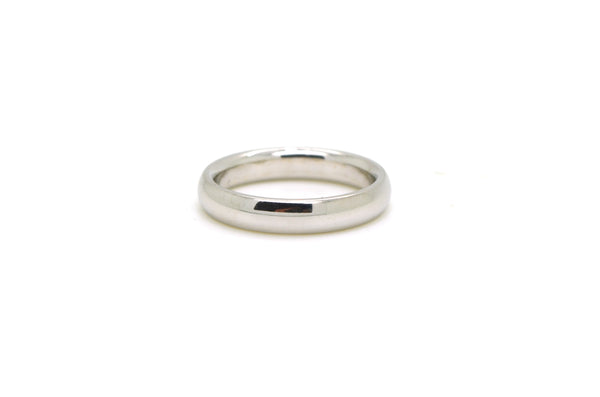 14k White Gold Polished Rounded 4 mm Comfort Fit Wedding Band Ring - Size 8