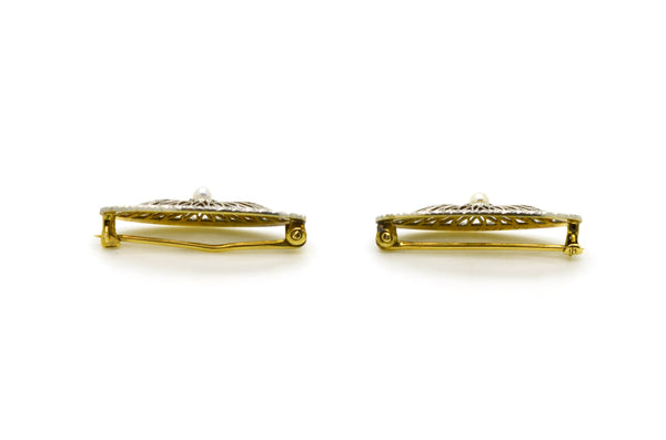 Vintage 14k White & Yellow Gold Set of Two Pins with Filagree and Seed Pearls