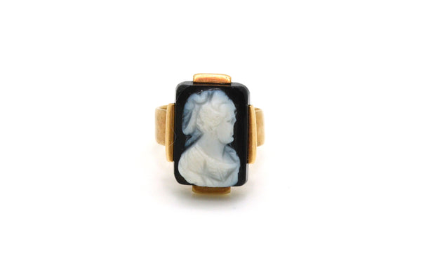 Vintage 14k Rose Gold Cocktail Ring with Black & White Onyx Cameo - Size 5.5