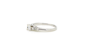 14k White Gold Round Diamond Engagement Promise Ring - .35 ct. total - Size 7