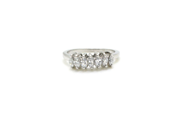 14k White Gold Marquise Diamond Prong-set Band Ring - .75 ct. total - Size 8