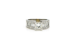 18k White Gold Princess Diamond Engagement Ring - 2.00 ct. total - Size 7.5