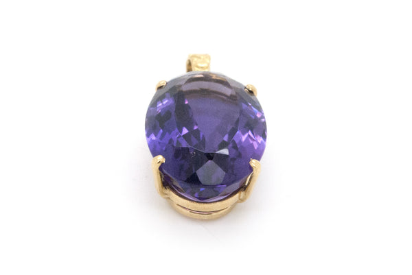 18k Yellow Gold Oval Shaped Purple Amethyst Pendant - 17.0 ct. - 4.7 dwt