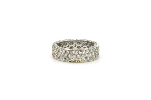 18k White Gold Cluster Pave-set Diamond Band Ring - 3.63 ct. total - Size 8