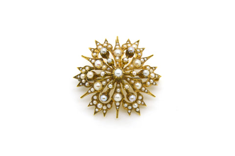 Antique Victorian 14k Yellow Gold Star Pin Brooch with Round White Seed Pearls