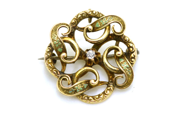 Antique Victorian 14k Yellow Gold Round Pin Brooch Pendant with Diamond & Enamel