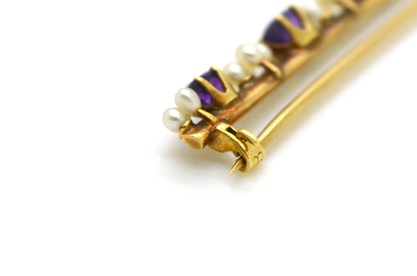 Vintage 14k Yellow Gold Bar Pin Brooch with Purple Amethyst and Pearls - 48 mm