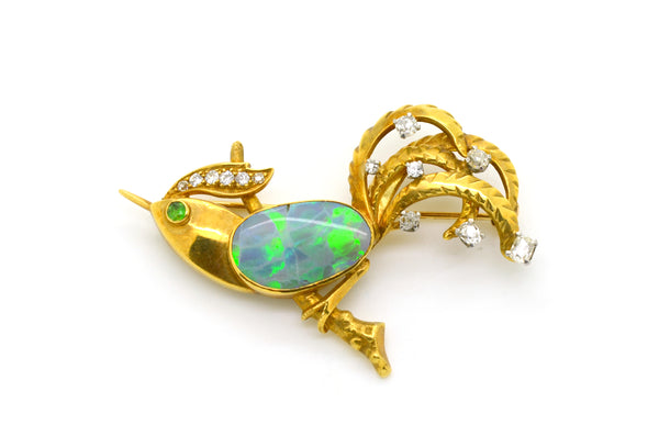 Vintage 18k Yellow Gold Opal & Diamond Bird Brooch Pin Pendant - .75 ct. total