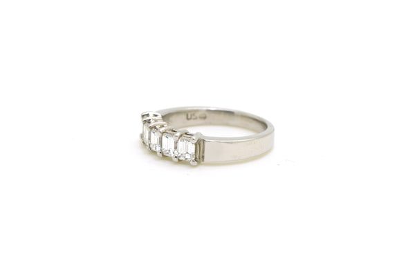 14k White Gold Emerald Cut Diamond 5 Stone Band Ring - 1.06 ct. tw - Size 6.25
