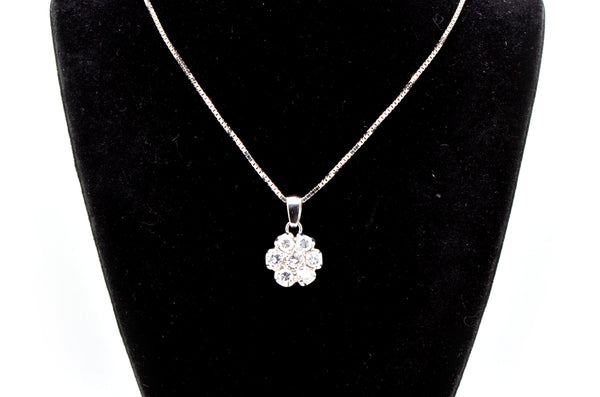 14k White Gold Diamond Flower Cluster Necklace - 1.25 ct. total - 15.75 in.