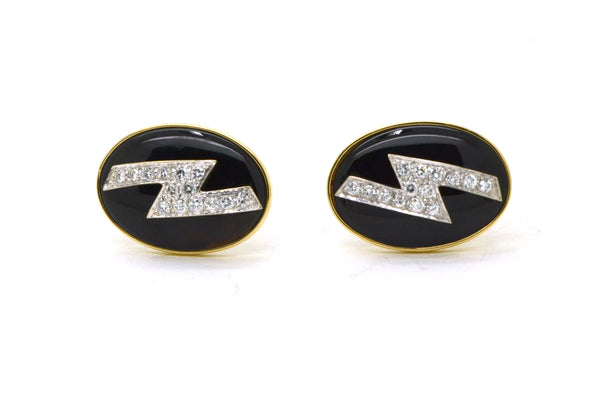 Vintage 14k White & Yellow Gold Lightning Bolt Onyx Diamond Cufflinks - .60 cttw