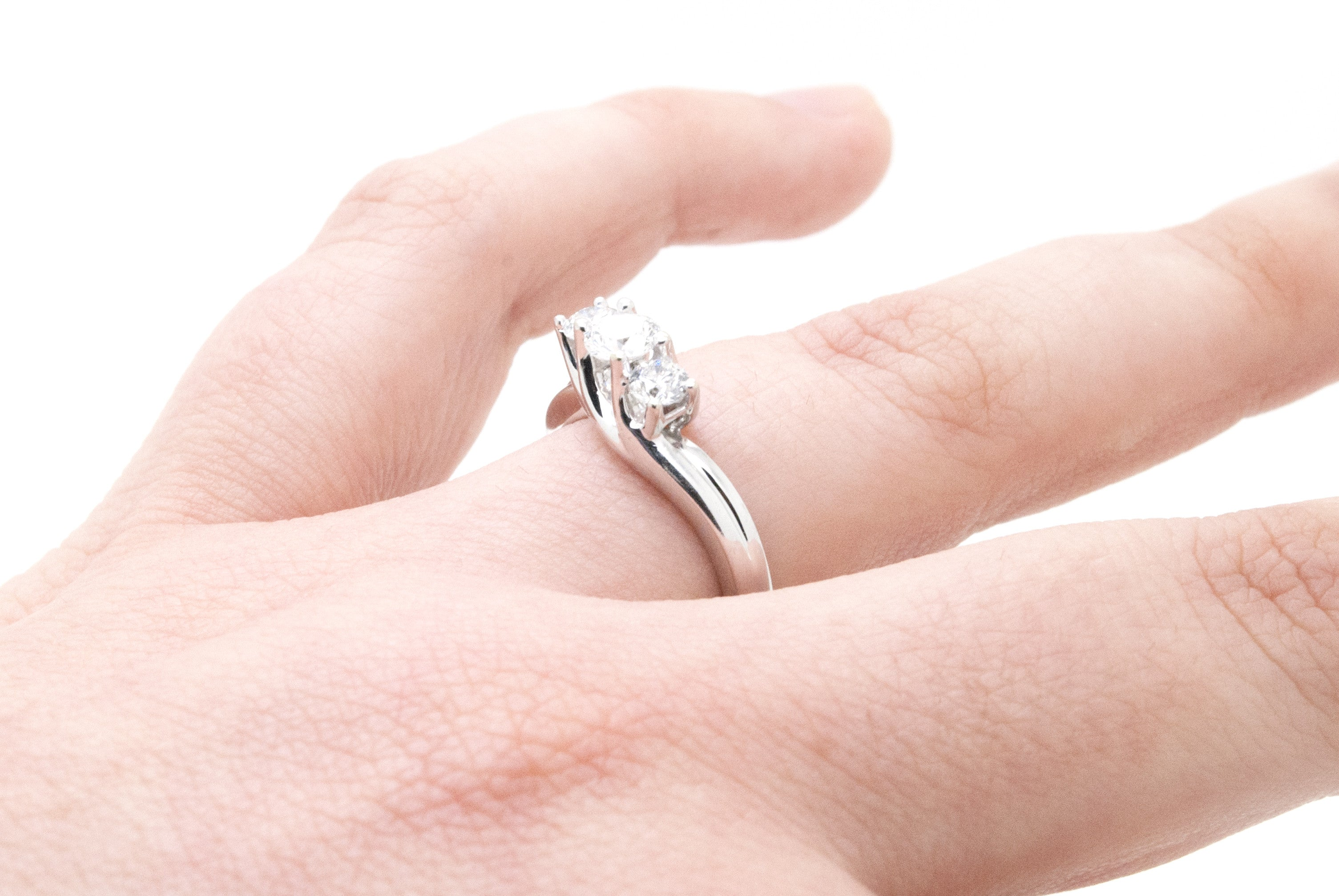10K White Gold Round Three Diamond Engagement Ring - .75 ct. total ...