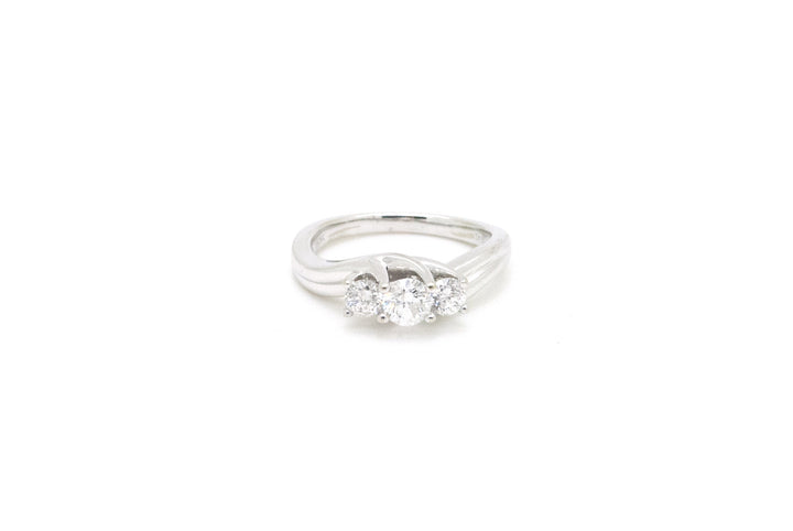 10K White Gold Round Three Diamond Engagement Ring - .75 ct. total - Size 6.5