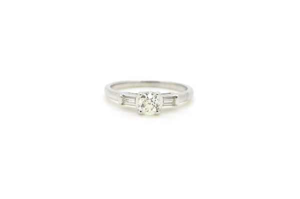 14k White Gold Old Mine Cut Diamond Engagement Ring - .55 ct. total - Size 6