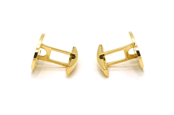 Vintage 14k Yellow Gold Oval Textured Cufflinks with Diamonds - 10.1 dwt