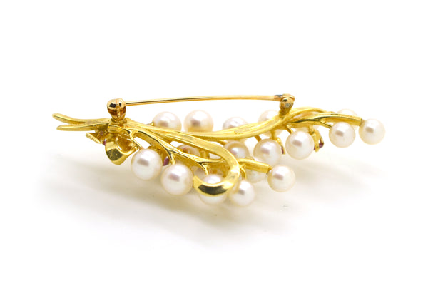 Vintage 14k Yellow Gold Pearl & Pink Sapphire Bow Bouquet Pin Brooch - .80 ct tw