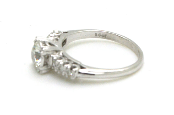 Vintage 14k White Gold Diamond Engagement/Promise Ring - .72 ct. tw - Size 5.75