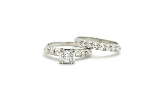 Vintage Platinum Diamond Engagement Wedding Ring Set - 1.05 ct. total - Size 6.5