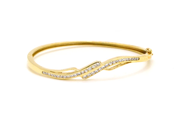 Vintage 14k Yellow Gold Diamond Bypass Style Bangle Bracelet - 0.50 ct. total