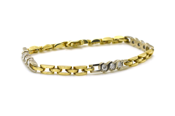 Vintage 14k Yellow & White Gold Diamond Link Bracelet - .90 ct. total - 7 in.
