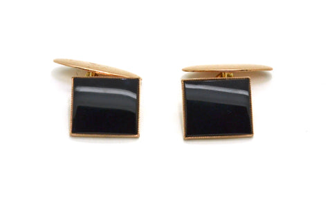 Vintage Retro 9k Rose Gold Square Cufflinks with Black Onyx Inlay - 3.7 dwt
