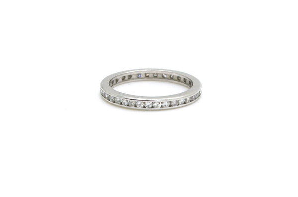 14k White Gold Diamond Channel-set Eternity Band Ring - .50 ct. total - Size 6.5
