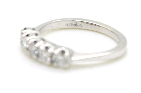 "14k White Gold Diamond 5-Stone ""Livebright"" Band Ring - .50 ct. tw - Size 6.75"