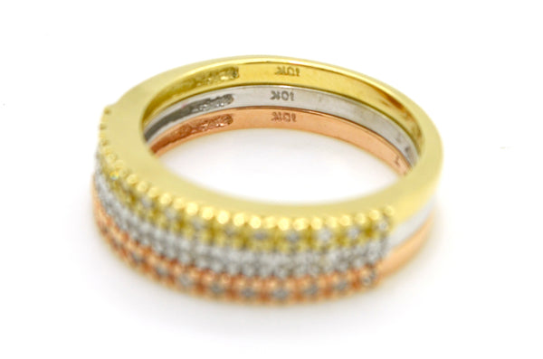 10k Yellow White & Rose Gold Stackable Diamond Band Rings - .70 cttw - Size 6.75