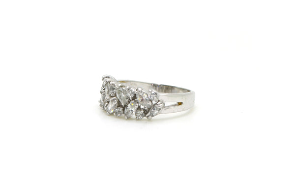 Vintage 18k White Gold Round & Marquise Diamond Ring - 1.00 ct. total - Size 5