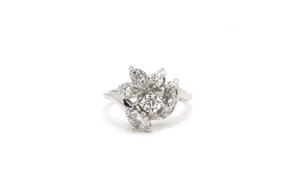 Vintage 14k White Gold Diamond Cluster Cocktail Ring - .65 ct. total - Size 7.75