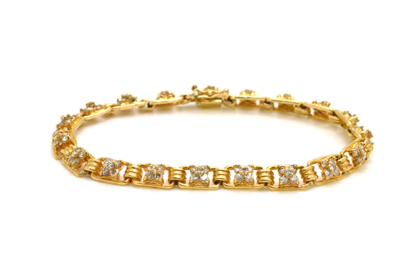 Vintage 14k Yellow Gold Diamond Link Tennis Bracelet - 2.00 ct. total - 7.5 in.