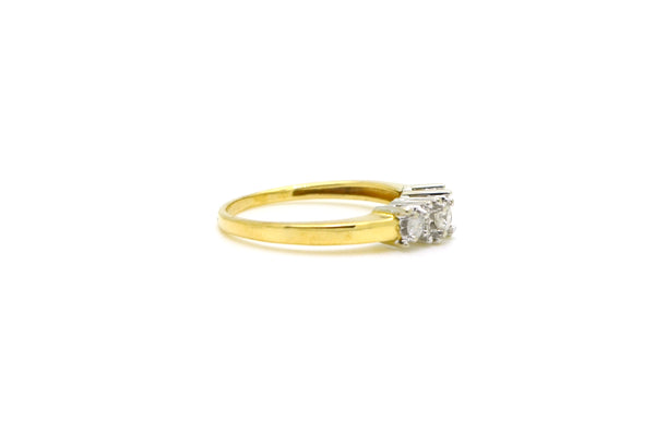 10k Yellow Gold Three Stone Round Diamond Engagement Ring - .30 ct. tw - Size 7