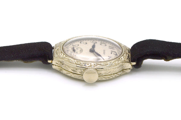 Vintage Elgin 14k White Gold Engraved Wrist Watch with Black Strap - #25488512