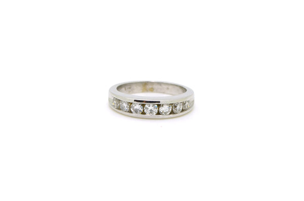 14k White Gold Channel-Set Round Diamond Band Ring - .90 ct. total - Size 7