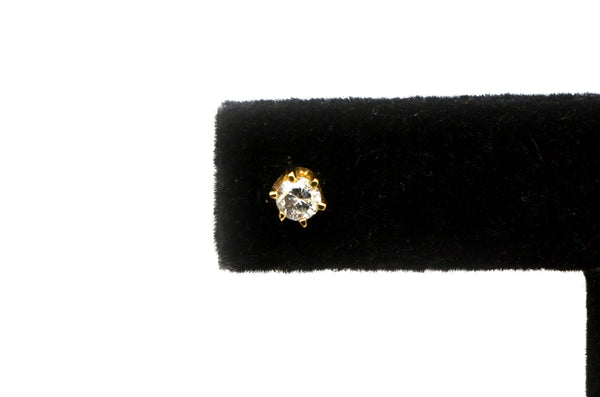14k Yellow Gold Stud Earrings with Round Brilliant Cut Diamonds - .35 ct. total