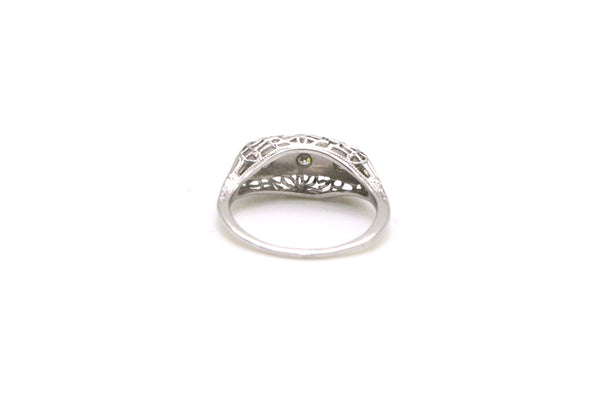 Vintage 18k White Gold Diamond Ring with Filagree - .06 ct. total - Size 5.25