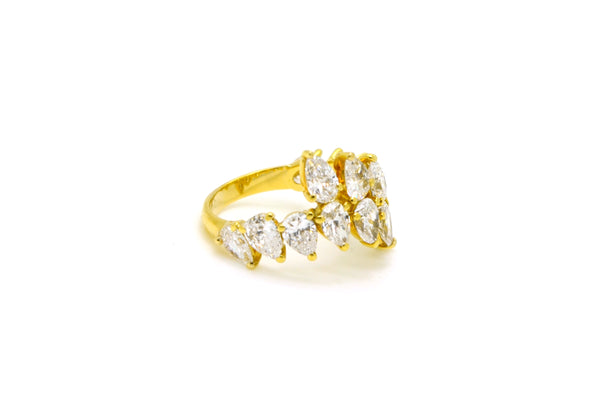 18k Yellow Gold Pear Diamond Wrap Bypass Band Ring - 2.25 ct. total - Size 6