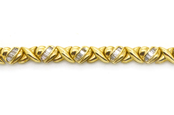 Vintage 14k Yellow Gold Diamond Heart Link Tennis Bracelet - 2.00 ct. tw - 7 in.