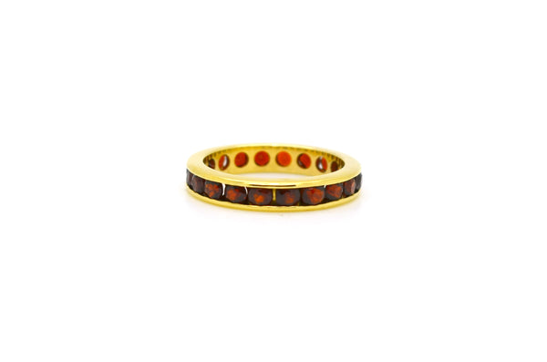 14k Yellow Gold Round Channel Set Garnet Eternity Band Ring - 3.65 mm - Size 6