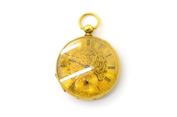Vintage 18k Yellow Gold Edouard Favre Brandt 13 Jewel Pocket Watch - #7627