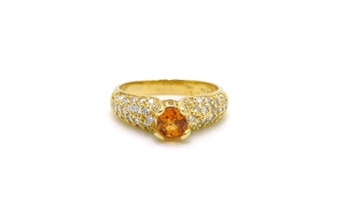 Vintage 14k Yellow Gold Round Orange Citrine & Diamond Cocktail Ring - Size 8