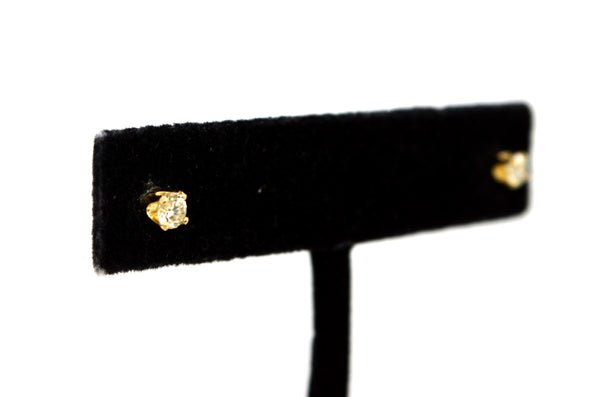 14k Yellow Gold Round Brilliant Diamond 4-Prong Stud Earrings - .30 ct. total