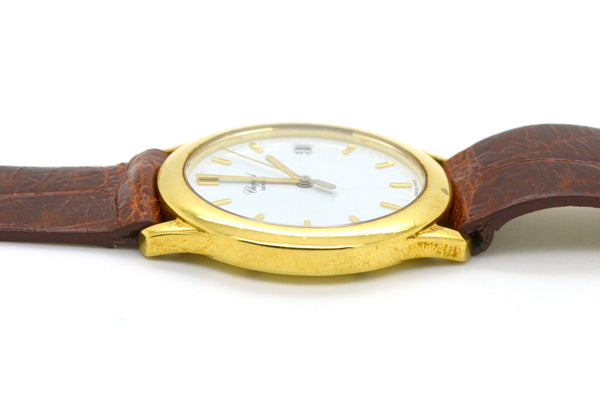 18k Yellow Gold Chopard Quartz Date Watch #279253 #1145- Brown Strap