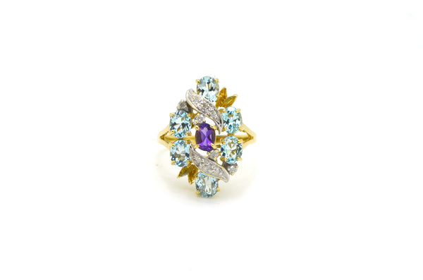 Vintage 10k Yellow Gold Aquamarine Amethyst Diamond Cluster Ring - Size 7.25