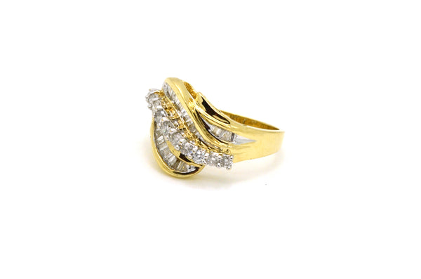 14k Yellow & White Gold Diamond Cluster Cocktail Ring - 1.00 ct. tw - Size 6.75