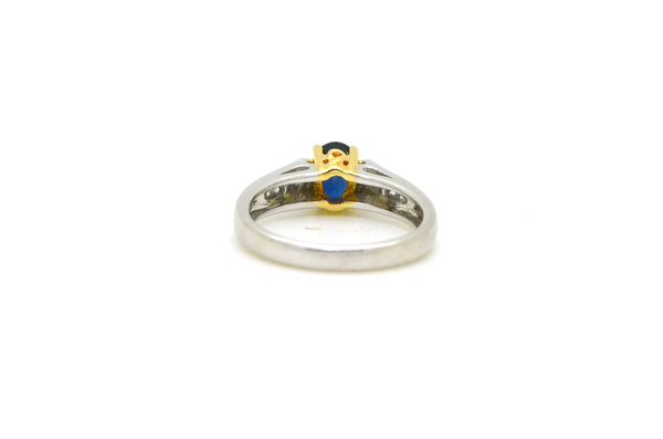Vintage 14k White & Yellow Gold Diamond and Sapphire Ring - .95 ct. tw - Size 7