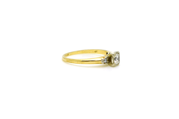 Vintage 14k 18k White & Yellow Gold Diamond Engagement Ring - .35 ct tw - Size 6