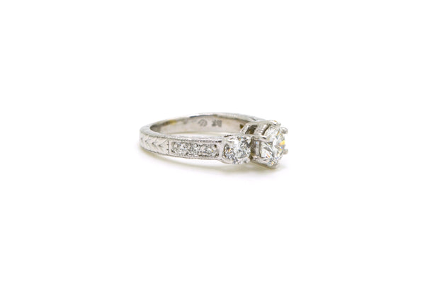 18k White Gold Round Diamond 3-stone Engagement Ring - 1.27 ct. total - Size 4.5