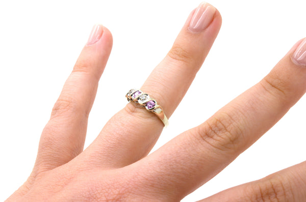 10k White Gold Diamond & Pink Sapphire Band Ring - .40 ct. total - Size 5